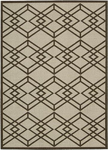 Nourison Enhance Latte Rectangle Area Rug, 8-Feet by 10-Feet 8 x 10