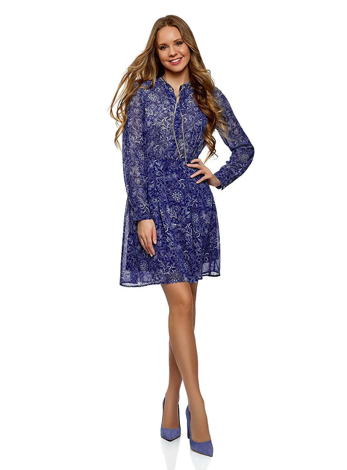oodji Collection Women's Dress in Flowing Fabric with Decorative Chains