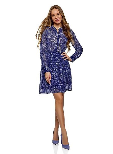 oodji Collection Mujer Vestido de Tejido Fluido con Cadenas, Azul, ES 36 / XS