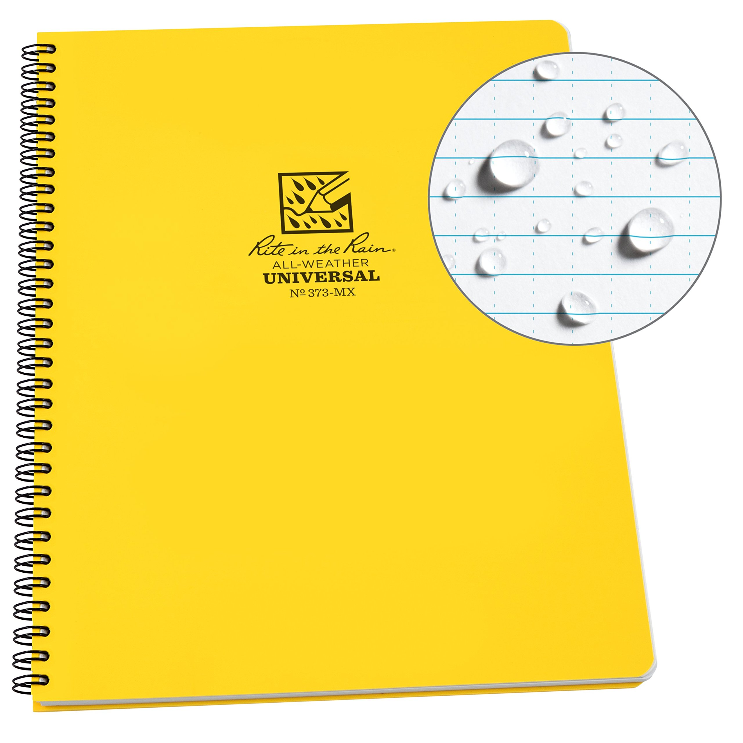 Rite in the Rain Weatherproof Side-Spiral Notebook, 8 1/2'' x 11'', Yellow Cover, Universal Page Pattern (No. 373-MX)