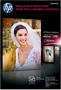 HP Premium Plus Photo Paper, High Gloss (60 Sheets, 4 x 6 Inches borderless)
