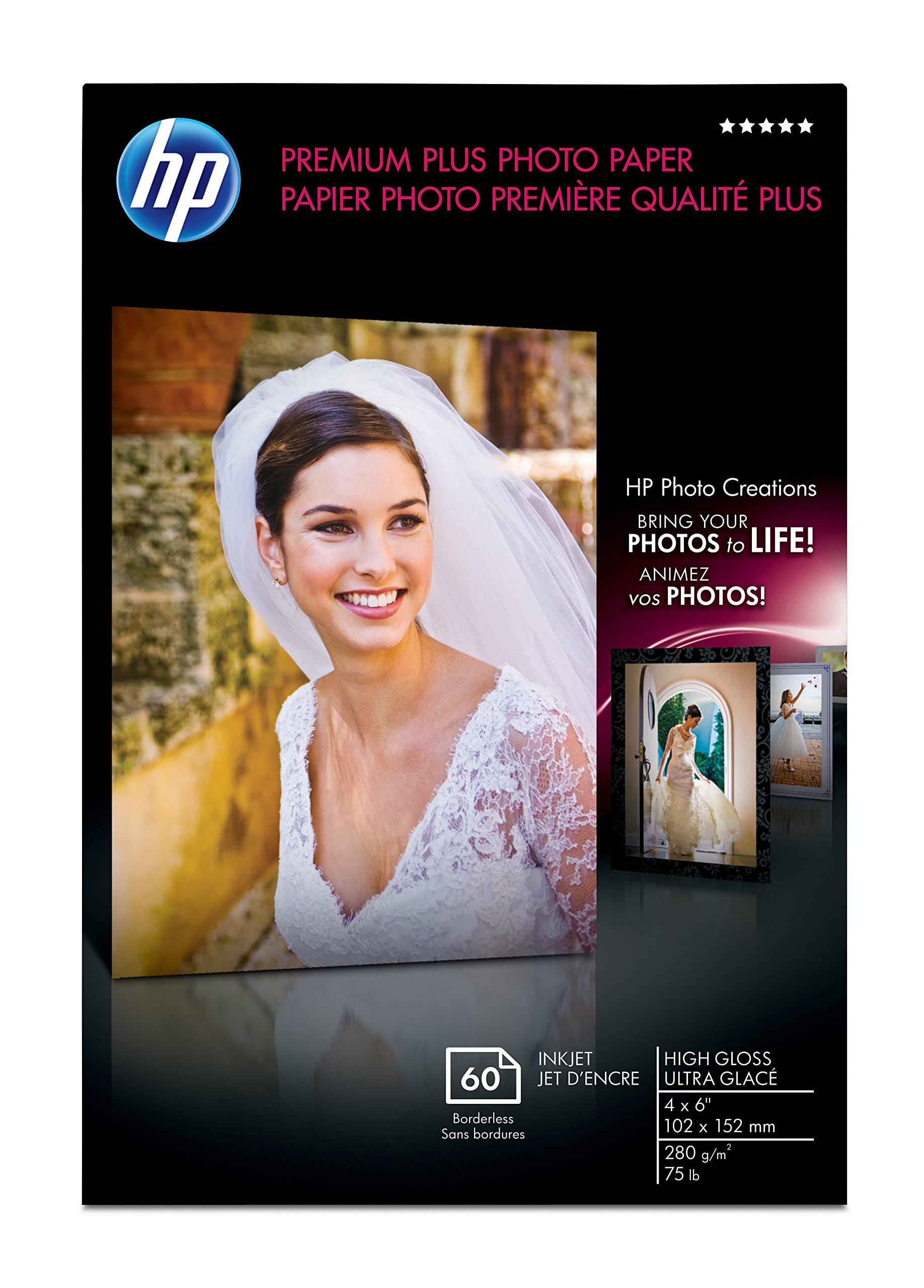 HP Premium Plus Photo Paper, High Gloss (60 Sheets, 4 x 6 Inches borderless)