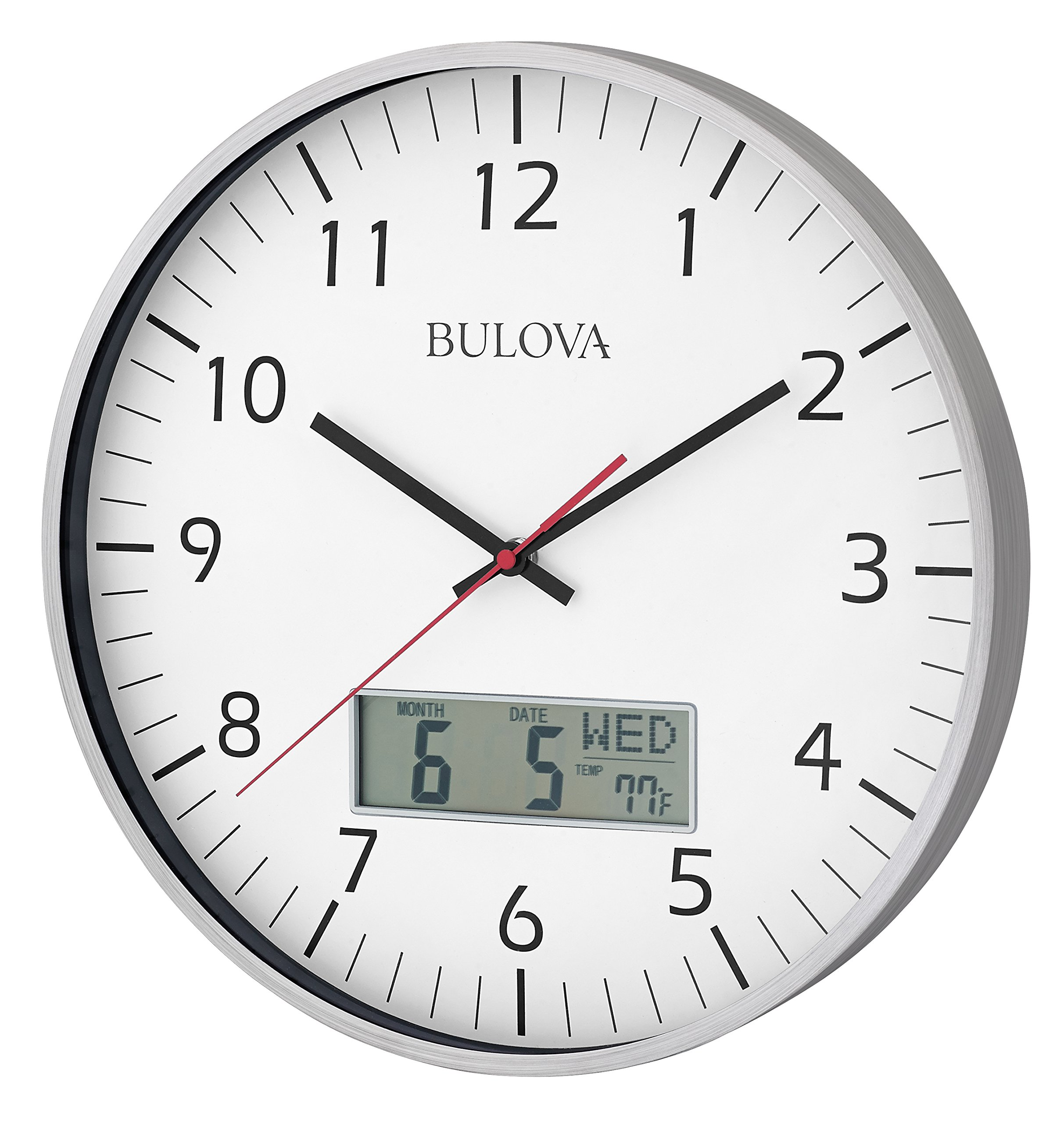 Bulova C4810 Manager Wall Clock, Silver - Silent quartz movement with a read quiet sweep (no ticking) second handle Bright white dial and bold numerals Digital feature displays month/date/day, and fahrenheit or celsius room temperature readouts - wall-clocks, living-room-decor, living-room - 819JwS594WL -
