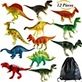Aneco 12 Pieces Large Realistic Looking Dinosaurs Kids Toys Plastic Assorted Dinosaur Figures with Toys Storage Bag, 7 Inch, Multiple Styles