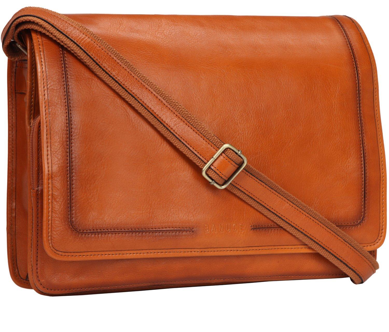 Banuce Vintage Leather Messenger Bag for Men 14 Laptop Business Crossbody Shoulder Satchel Bag
