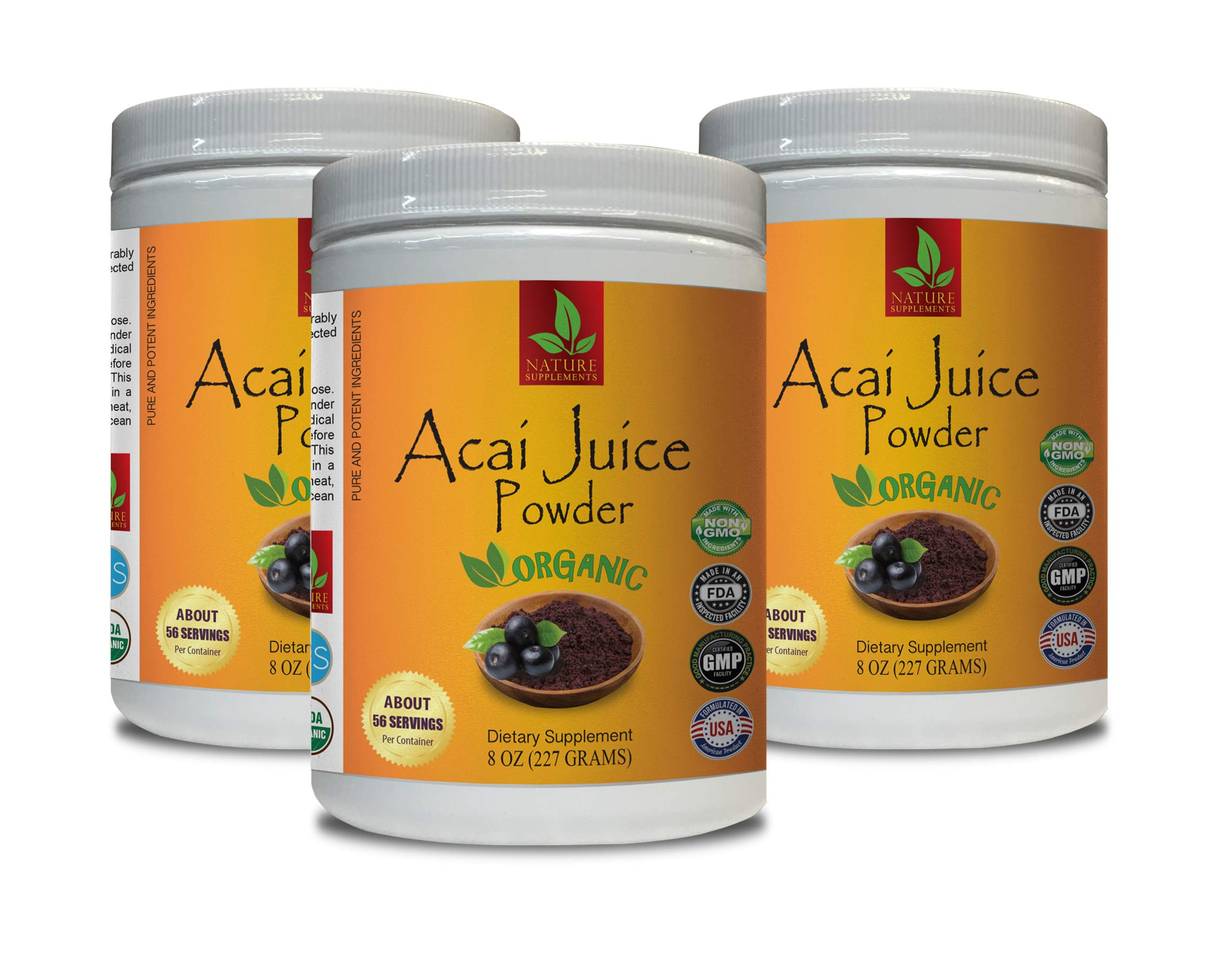 Energy Support Supplement - ACAI Organic Juice Powder - Pure and Potent Ingredients - Pure acai Powder - 3 Cans 24 OZ (195 Servings)
