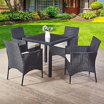 Omiyo Muebles de jardín de ratán Mesa de Comedor 4 sillas ...