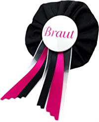 AnneSvea Orden - Braut schwarz pink Hochzeit JGA Junggesellinnenabschied Bride to be Hochzeit Anstecker Button Hen Night Party Deko