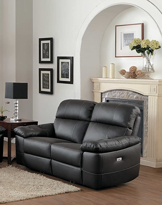 Homelegance 8223DB-2PW Nicasio Contemporary All Leather Power Reclining Loveseat, Dark Brown