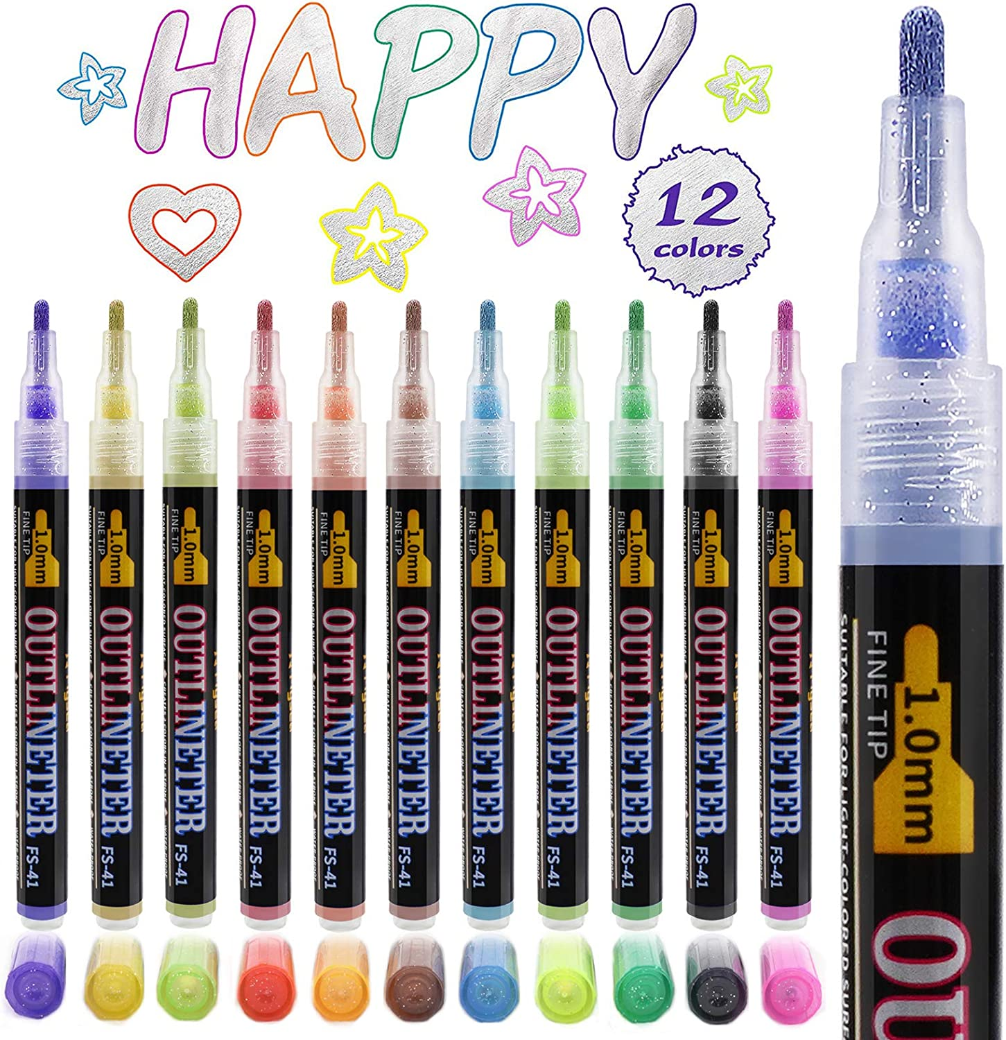 Double Line Outline Marker Pens,12 Colors Self Outline Metallic Markers Dazzle Shimmer Glitter Pens Permanent Painting for Easter Egg Decor, Gift Card, DIY Photo Album, Scrapbook Crafts, Wood, Glass