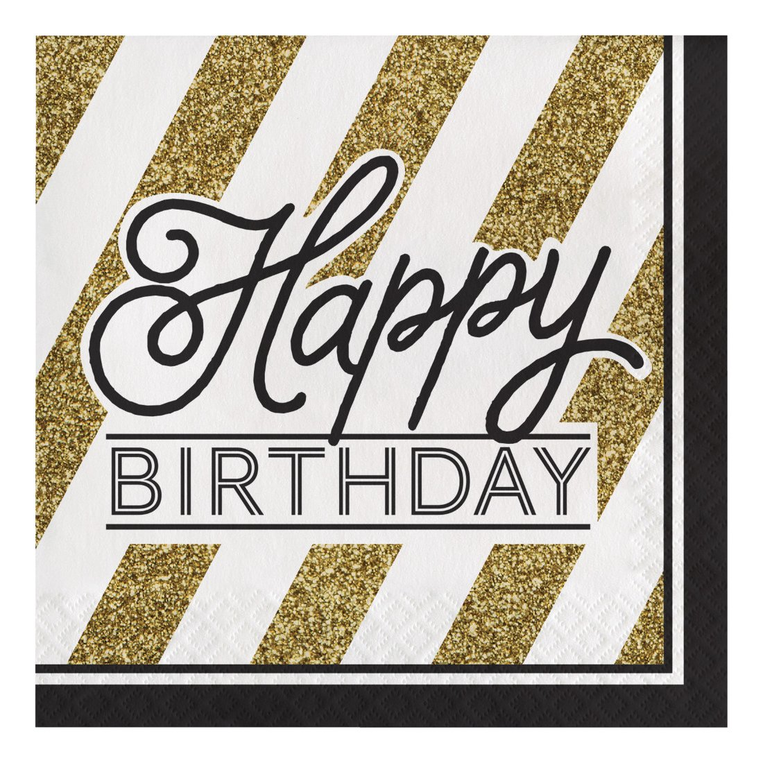 Creative Converting 317546 48 Count Paper Lunch Napkins, Happy Birthday, Black and Gold