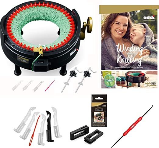 Express Hook New Improved Version Of addi Express Professional Knitting Machine Extended Edition With Improved Row Counter Replacement Needles and 2 Stopper Pattern Book
