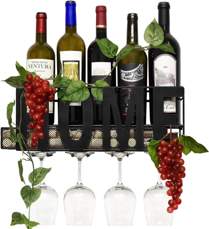Home /& Kitchen D/écor 5 Glasses Storage Rack NEX Wall-Mounted Wine Rack Holds 4 Bottles Wood Bottle /& Glass Holder