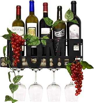 Bottle /& Glass Holder Wh... Wall Mounted Wine Rack Cork Storage Store Red