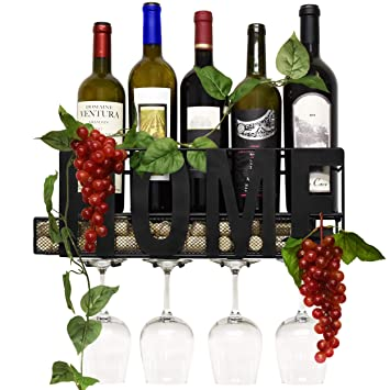 Amazoncom Home Metal Wall Mounted Wine Rack And Glass Holder With