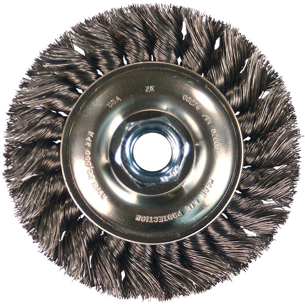PFERD 82283 Power Knot Wire Wheel Brush with Standard Twist, Threaded Hole, Stainless Steel Bristles, 4'' Diameter, 0.014'' Wire Size, 5/8''-11 Thread, 20000 Maximum RPM
