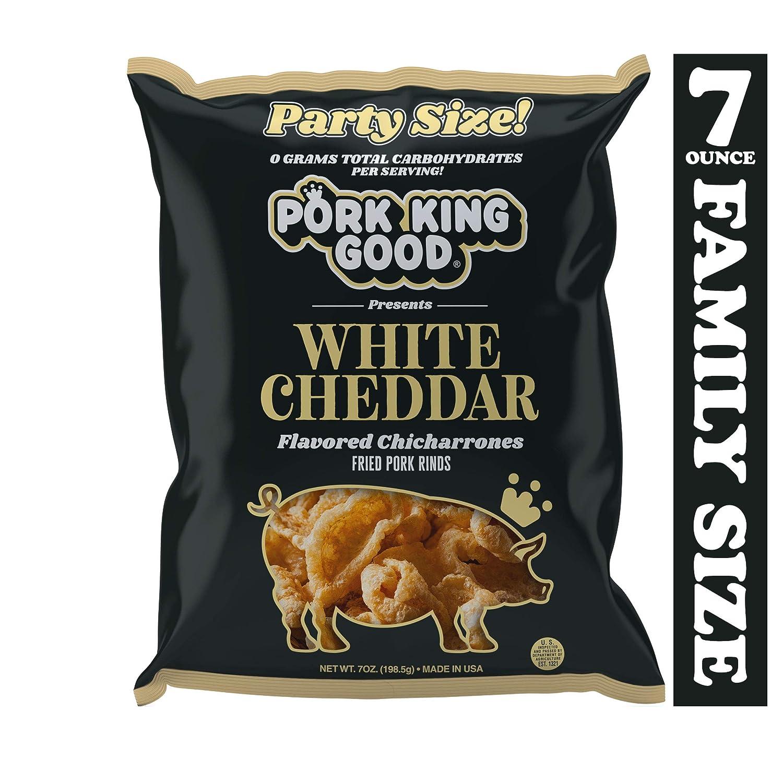 Pork King Good White Cheddar Pork Rinds 7 OZ FAMILY SIZE (Chicharrones - Keto Snacks)
