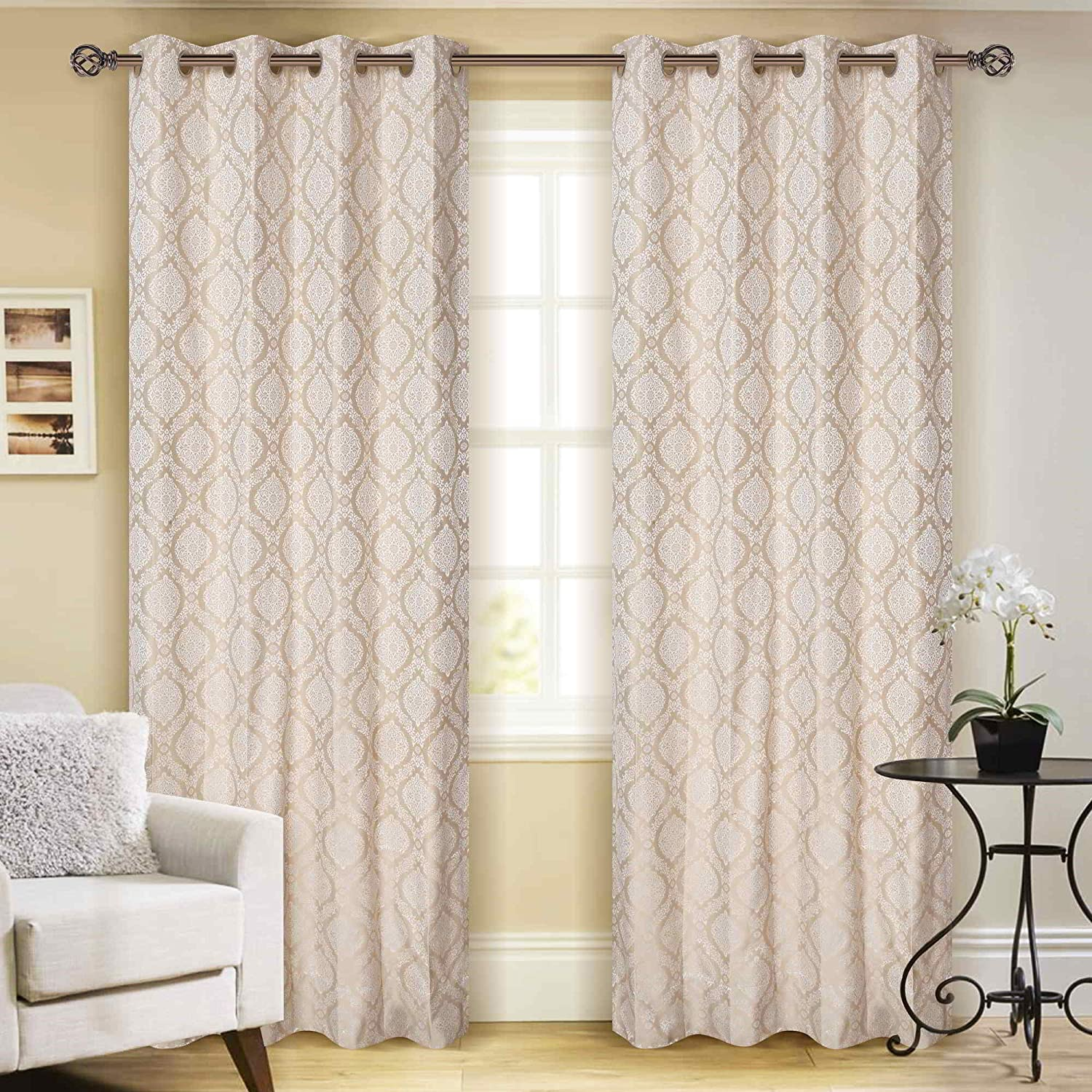 Buy Ayodhyam Decor Beautiful Fancy Modern Printed 2 Piece Eyelet Polyester Heavy Curtain Set Living Room Hotel Resort Restaurant Home Decor Ivory 7 X 4 Feet Online At Low Prices In India Amazon In