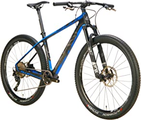 Blue All Mountain Bike Crew EX Full Carbon Hardtail with Shimano Deore XT 11 Speed, Fox Shocks Performance Elite, and DT Swiss Wheels