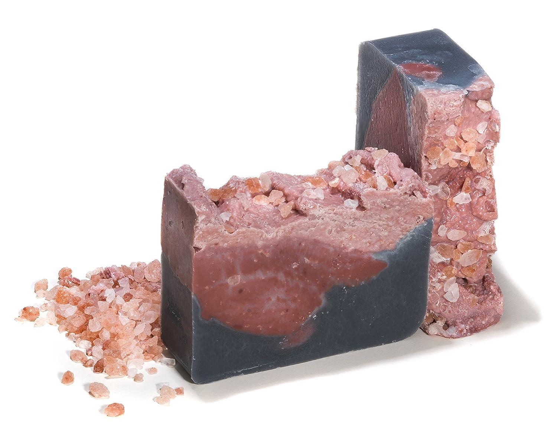 Pastilla de jabón de sal rosa del Himalaya con rosa (Everest) (4Oz) - Artesanal y orgánico con aceites esenciales. Jabón corporal y facial hidratante.