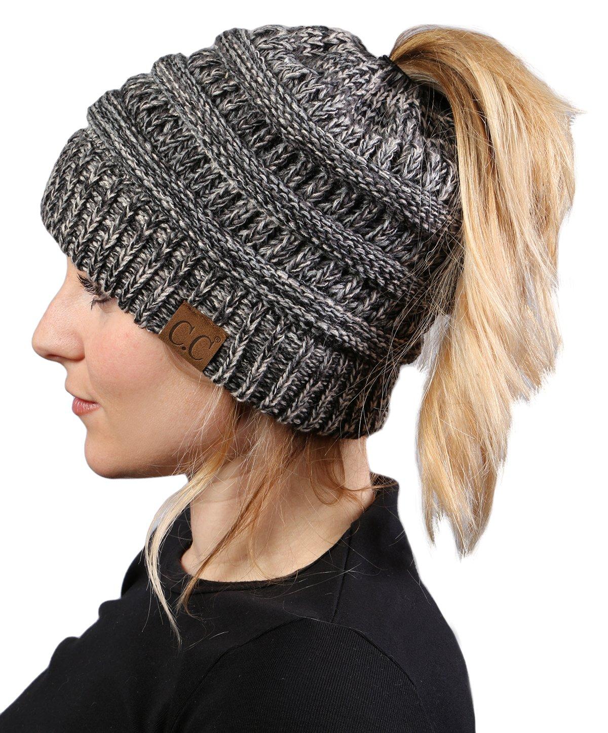 BT-6800-816.21 Messy Bun Womens Winter Knit Hat Beanie Tail - Grey/Black#31