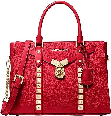 Michelel Michael Kors Nouveau Hamilton Petit sac à bandoulière en cuir  galet Rouge vif