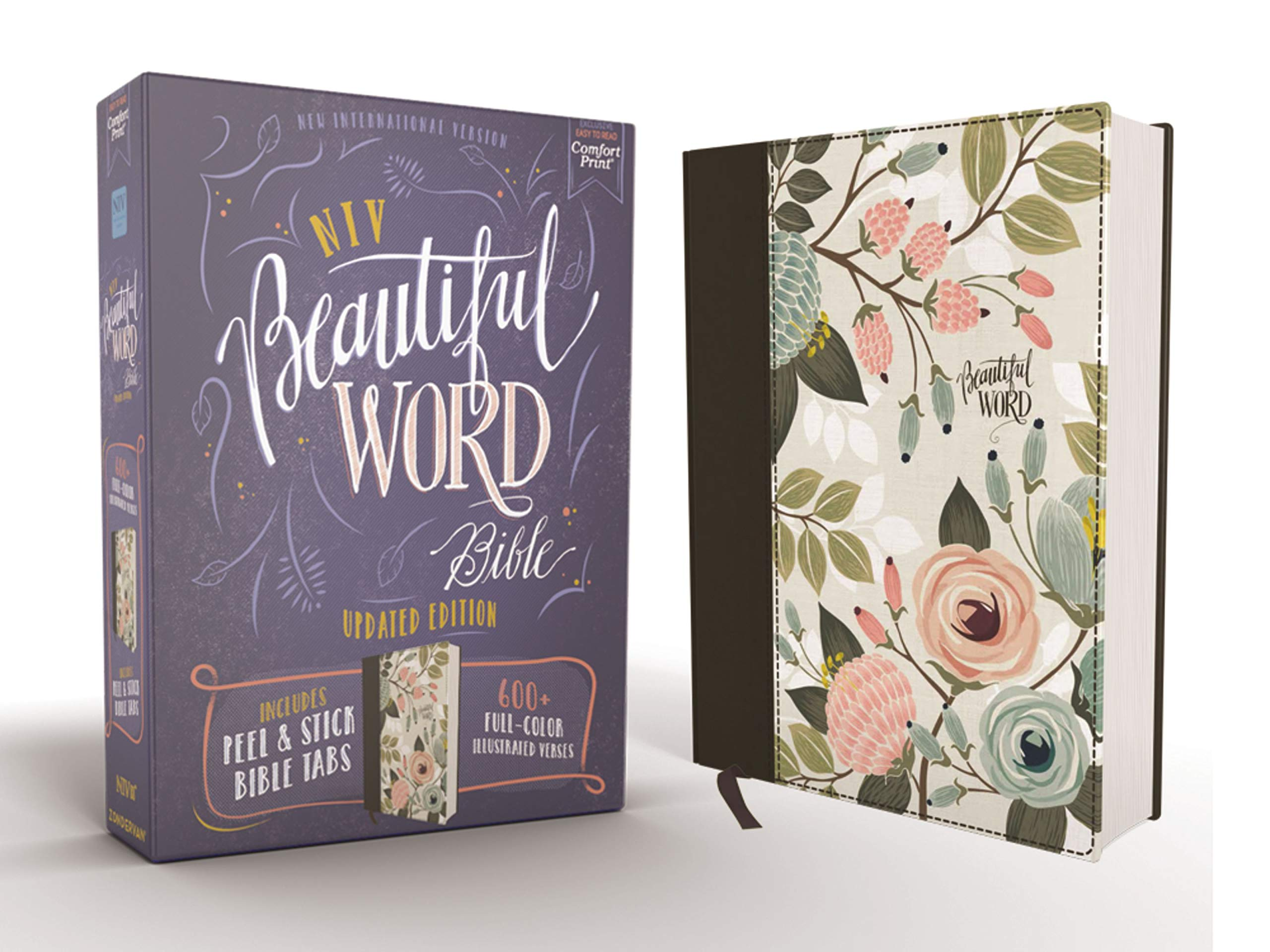 NIV, Beautiful Word Bible, Updated Edition, Peel/Stick Bible Tabs, Cloth over Board, Floral, Red Letter, Comfort Print: 600+ Full-Color Illustrated Verses by HarperCollins Christian Pub.