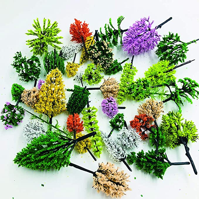 Amazon.com: 30pcs Mixed Model Trees 1.57-4.72inch Fake Trees ...