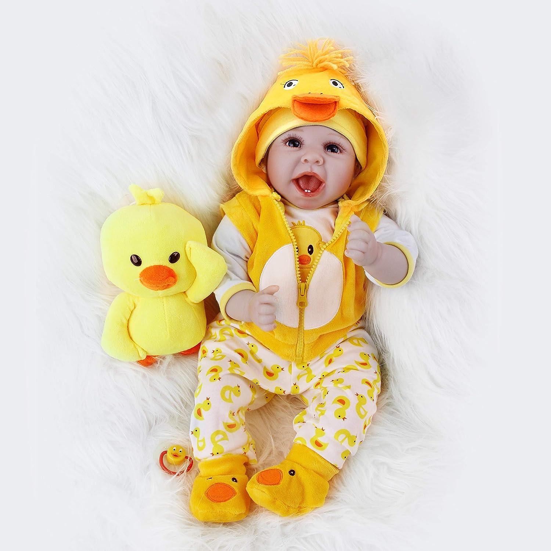 ZIYIUI Realista 22 Pulgadas 55 Cm Muñecas Reborn Suave Silicona Vinyl Bebé Reborn Niña Reborn Toddlers Niña Niño Regalo Juguetes Reborn Dolls