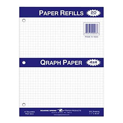 amazon com roaring spring filler paper 11 x 8 5 4x4 graph ruled