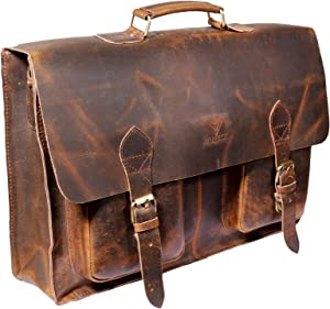 Vintage Handmade Leather Messenger Bag Laptop Briefcase Computer Satchel Bag for Men (18 Inches)