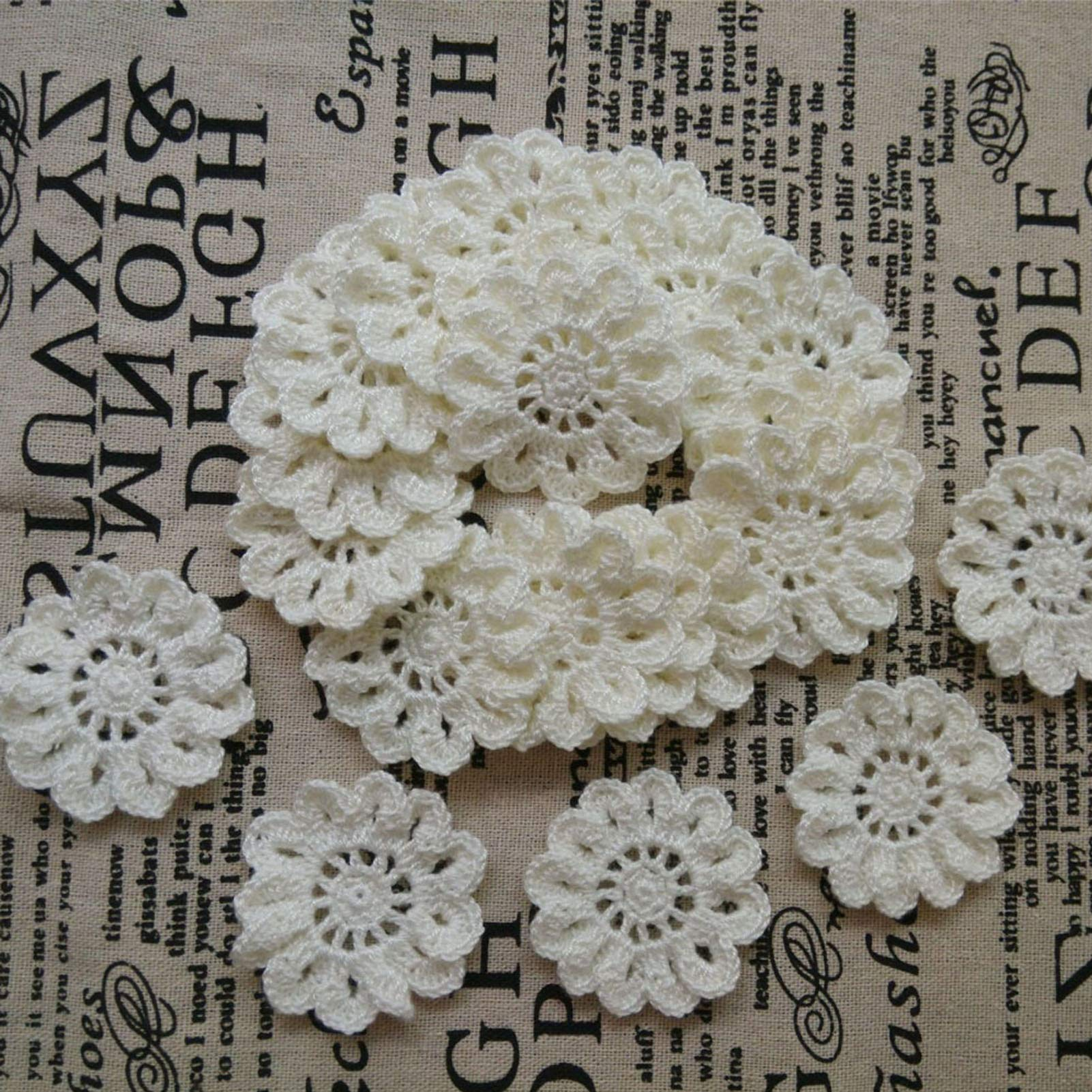 2'' Handmade Crocheted Cotton Cream White Appliques Flower Embellishments for Crafts, Clothing, Headbands, Hats, Gift Package Needs, Pack of 20