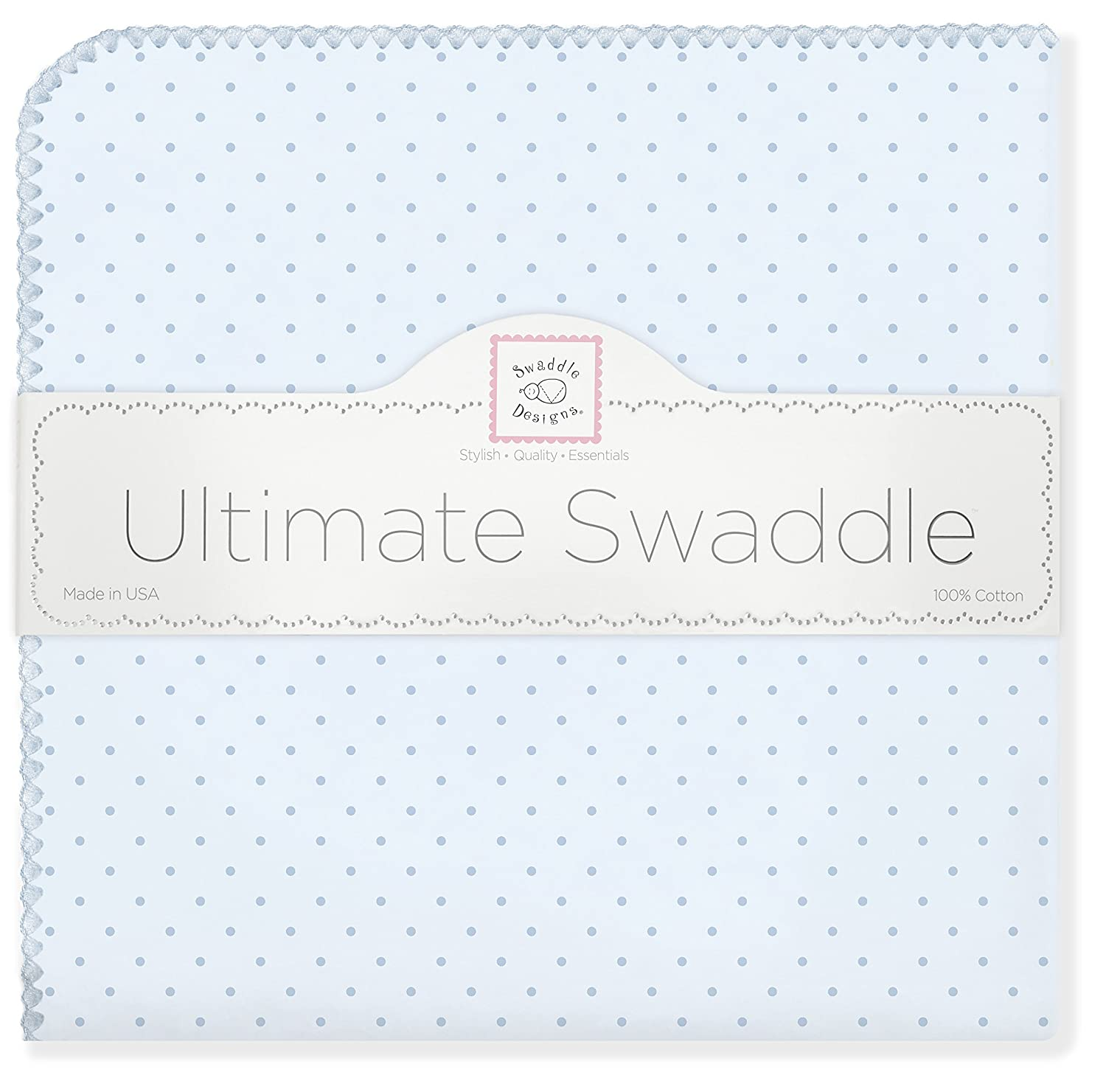 Moms Choice Award Winner SwaddleDesigns Ultimate Swaddle Premium Cotton Flannel X-Large Receiving Blanket Blue Classic Polka Dots Made in USA