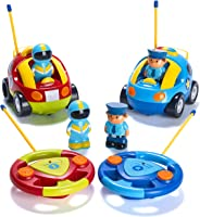 Prextex Pack of 2 Cartoon R/C Police Car and Race Car Radio Control Toys for Kids- Each with Different Frequencies So Both C