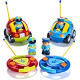 Prextex Pack of 2 Cartoon R/C Police Car and Race Car Radio Control Toys for Kids- Each with Different Frequencies So Both Ca