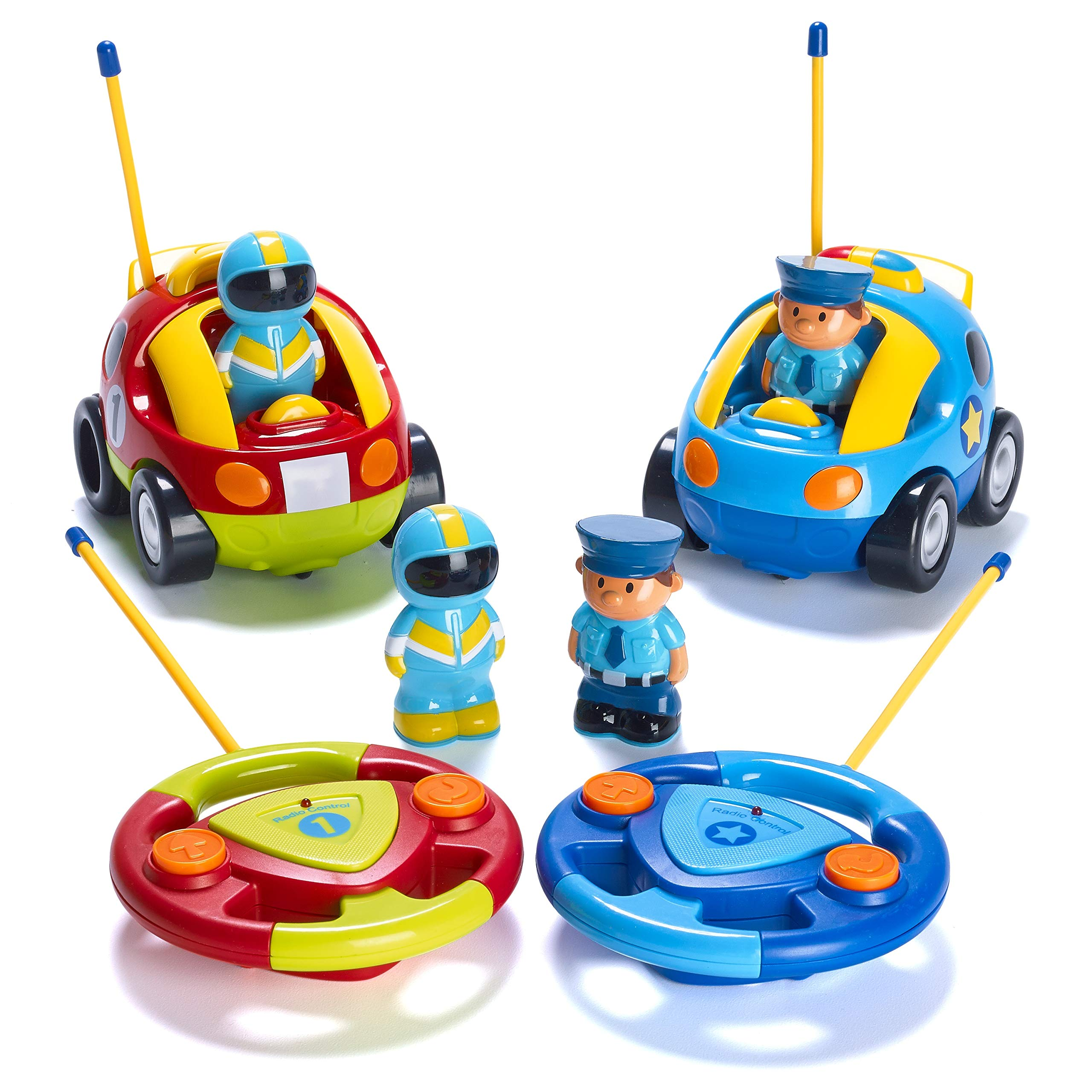 Prextex Pack of 2 Cartoon R/C Police Car and Race Car Radio Control Toys for Kids- Each with Different Frequencies So Both Can Race Together by Prextex