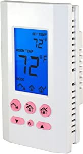 KING K702E-2 SimplStat Electronic Line Voltage Thermostat with Programmable Presets, 208/240V, 16A, Double Pole