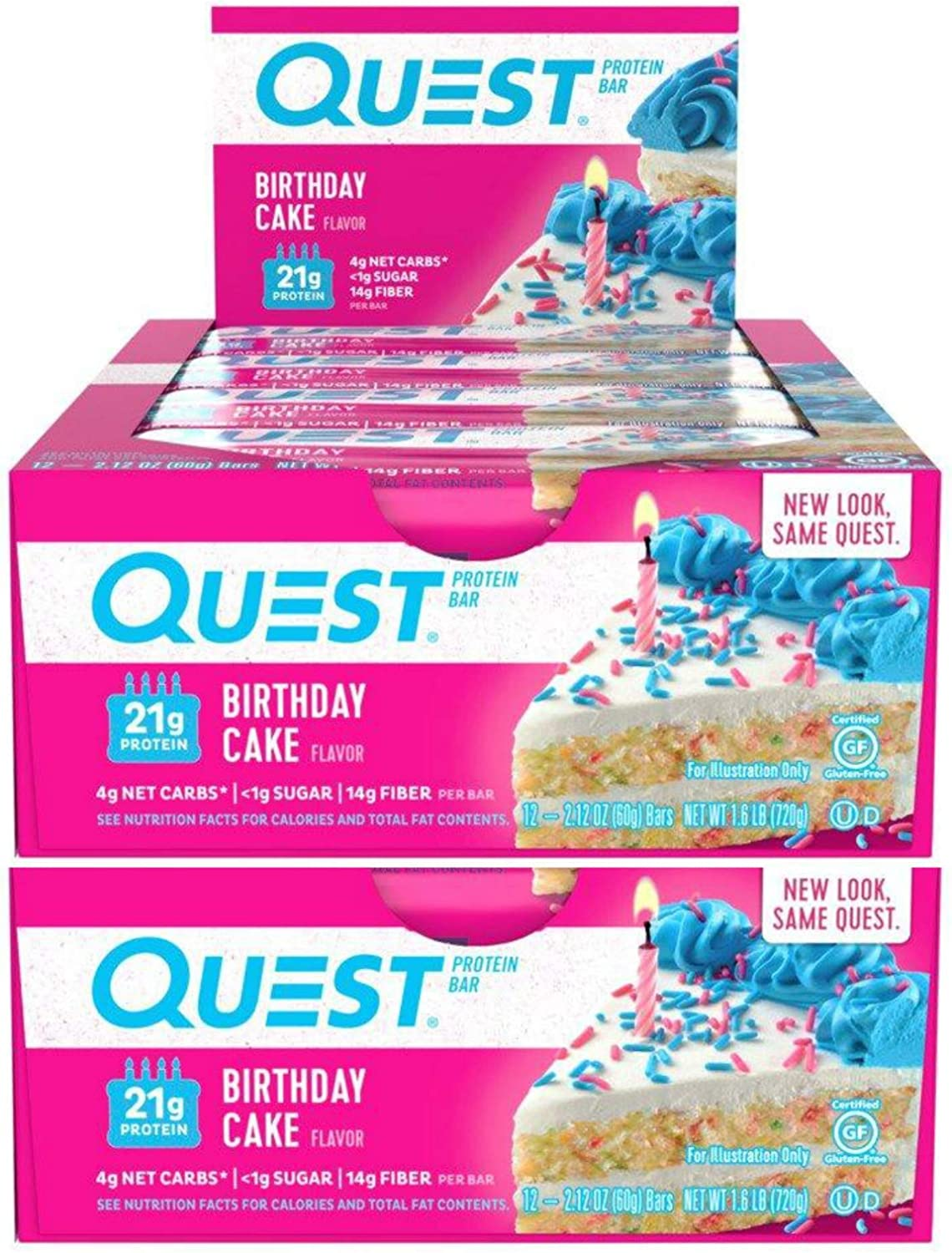 Quest Nutrition Protein Bar Birthday Cake. Low Carb Meal Replacement Bar with 21 Gram Protein. High Fiber, Gluten-Free (24 Count)