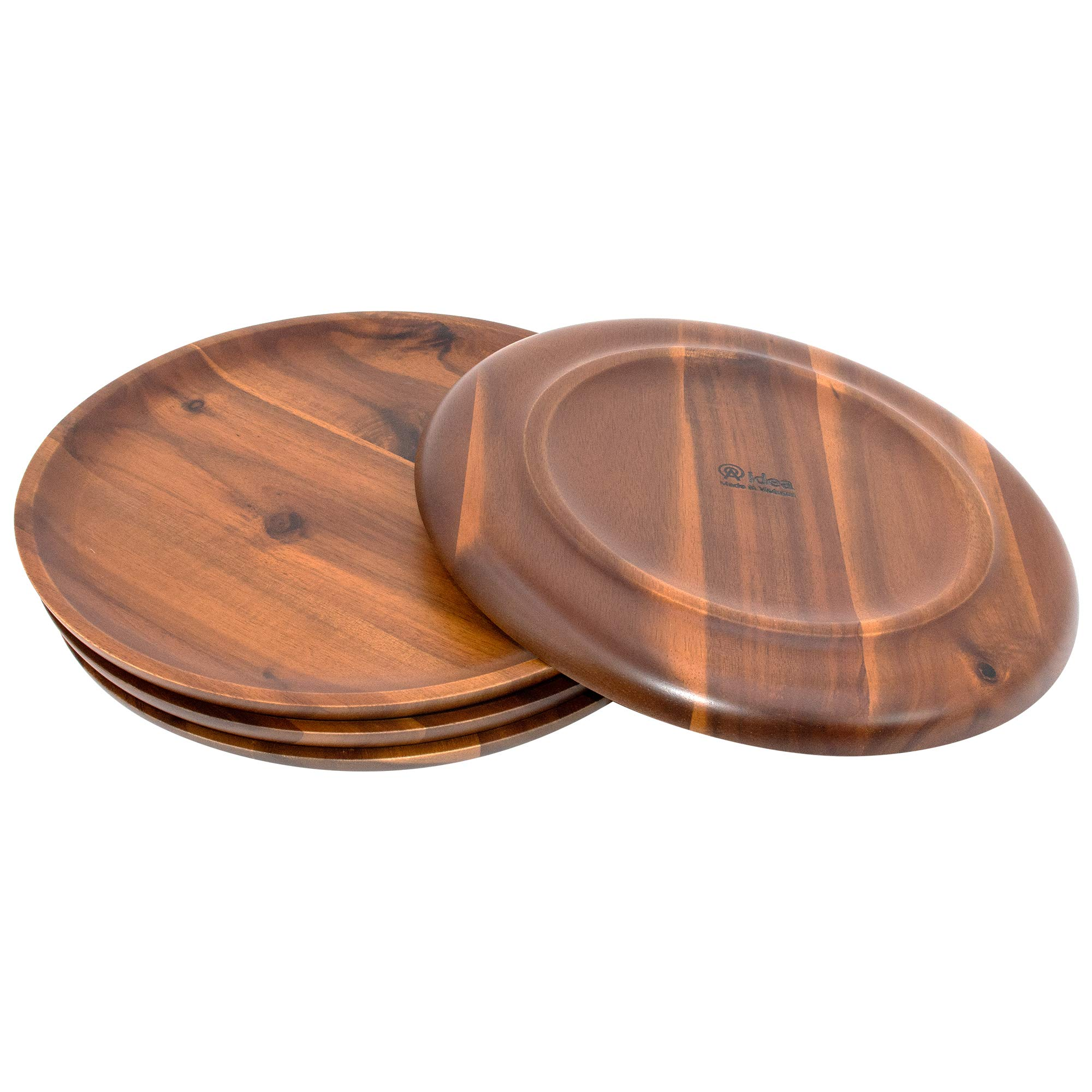AIDEA Acacia Wood Food Serving Charger Plates - 11 inch Set of 4 Round Wooden Dishes Snack Plates by AIDEA (Image #4)