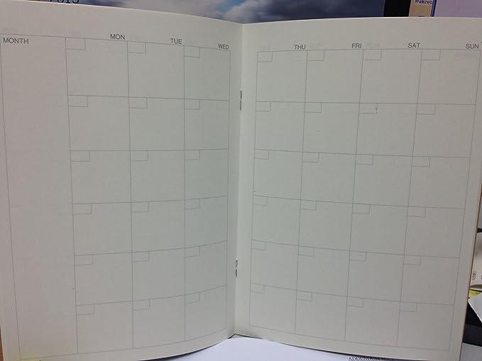 Japón MUJI A5 Hojas de calendario, A5 – para 32 hojas mensuales