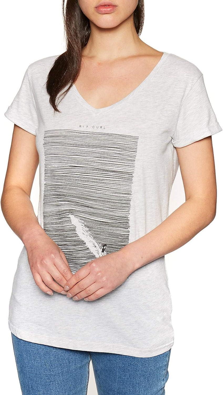 Rip Curl Minimalist Wave - Camiseta de Manga Corta con Cuello en V Ecru Marle L: Amazon.es: Ropa y accesorios