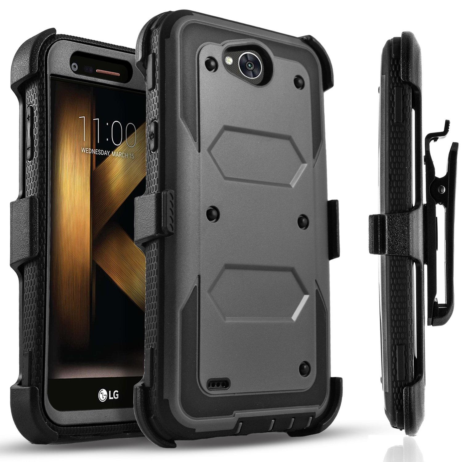 LG X Power 2 Case, LG Fiesta LTE Case, LG X Charge Case, Circlemalls [SUPER GUARD] Dual Layer Hybrid Protective Cover With [Built-in Screen Protector] Holster Belt Clip + Touch Screen Pen Black by Circlemalls