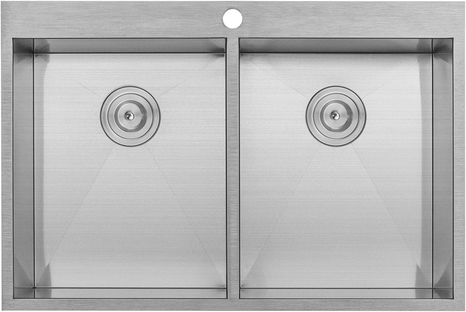 33 Ticor PLZ-620 Overmount 18 Gauge Stainless Steel Zero Radius Double Bowl Kitchen Sink