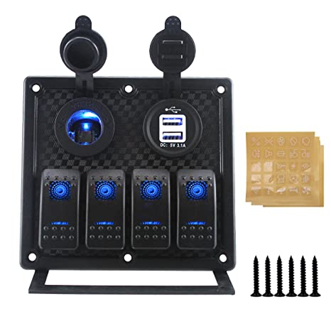 IZTOR Waterproof 6 Gang LED Blue Marine Boat Rocker Switch Panel with Power Charger and USB Socket