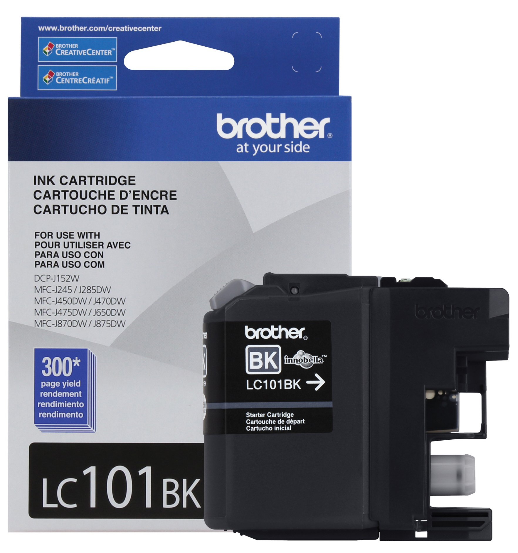 Brother Genuine Standard Yield Black Ink Cartridge, LC101BK, Replacement Black Ink, Page Yield Up To 300 Pages, LC101 by Brother