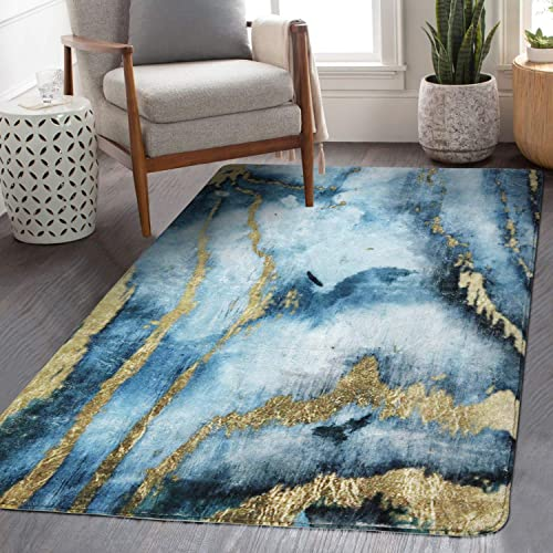 HAOCOO Modern Abstract Area Rugs 3 x5 Large Non-Slip Blue Gold Marble Throw Rugs Super Soft Velvet Distressted Accent Floor Carpet for Bedroom Living Room Nursery Christmas Decor 3 x 5 , Blue Gold