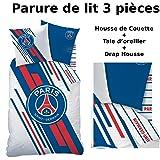 Parure de lit (3pcs) - Housse de Couette + Taie d'Oreiller + Drap housse - Imprimé PSG Stadium