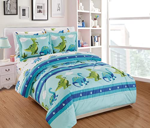 Mk Home 7pc Full Size Comforter Set for Boys Rhinos Dinosaurs Aqua Blue Green White New