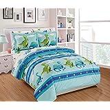 Fancy Linen 7pc Boys Full Comforter Set Dinosaurs Blue Green Orange New