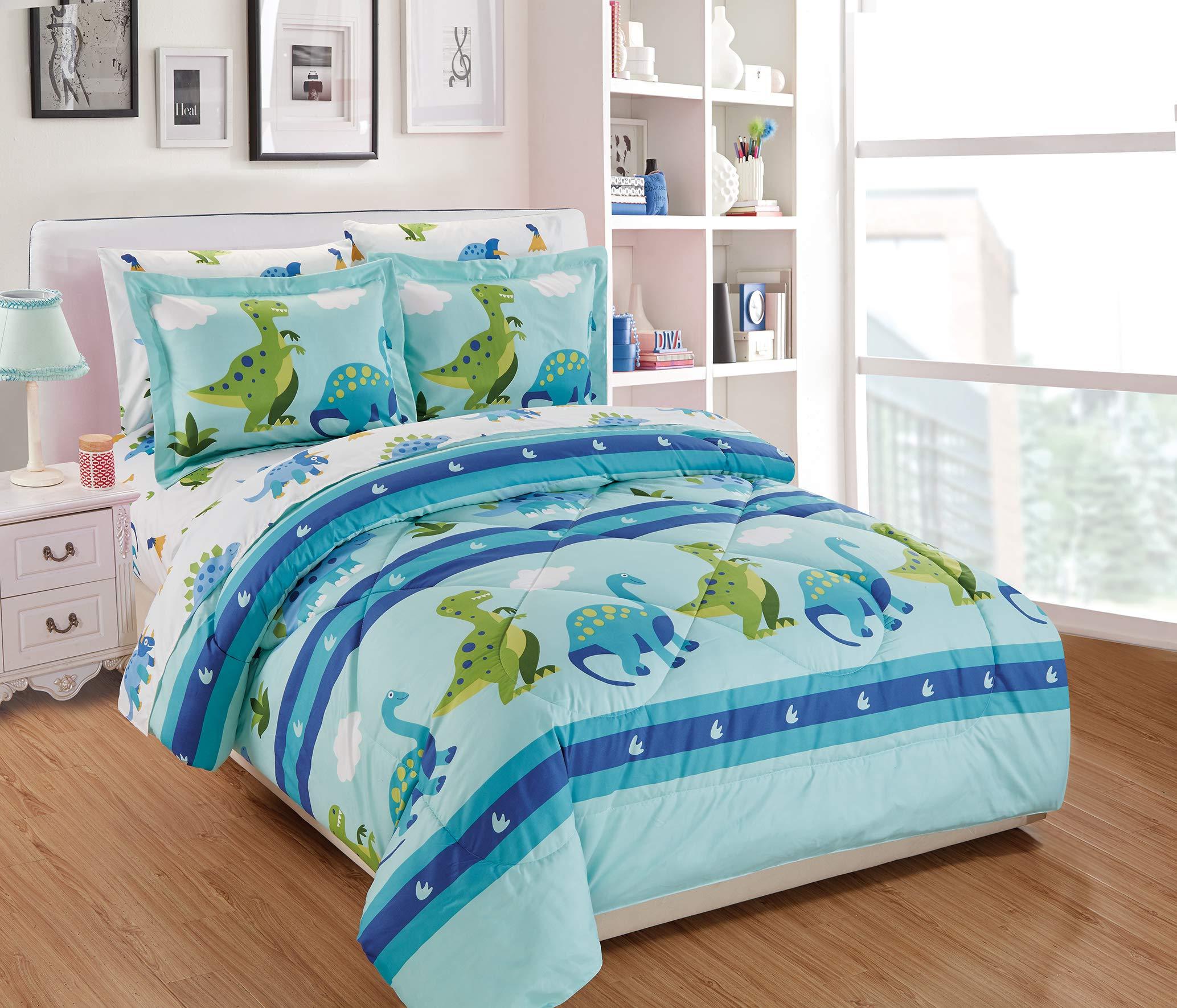 Fancy Linen 5pc Twin Comforter Set Dinosaur Rhino Aqua Green White Blue New